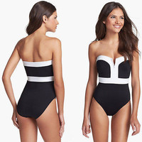 Swimsuit Hot Summer Beach New Arrival Sexy Deep V Patchwork Swimwear With Steel Wire Bikini [5024206276]
