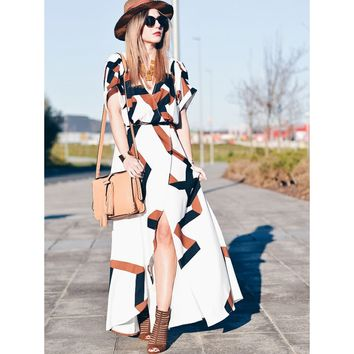 White V-Neck Short Sleeve Geometric Print Split Maxi Dress
