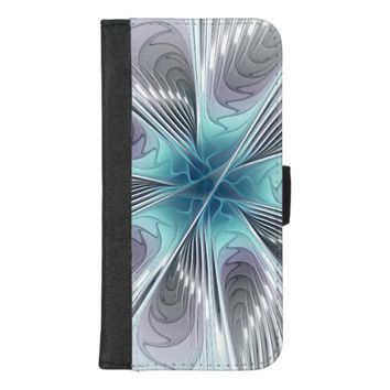 Elegance, Modern Blue Gray White Fractal Flower iPhone 8/7 Plus Wallet Case