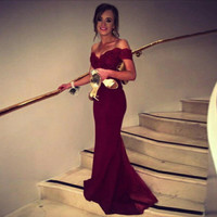 Vestidos De Fiesta Sexy Lace Dress Elegant Noble Formal Long Red Sweetheart Mermaid Evening Dress Hot Sale