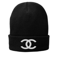 CC Beanie Chanel Inspired Fleece-Lined Knit Cap