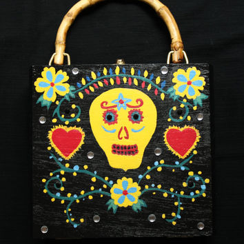 Cigar Box Purse Hand Painted With Sugar Skull Design One of a Kind