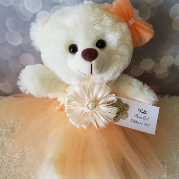 Flower Girl Gift Teddy Bear in Peach Tutu dress color