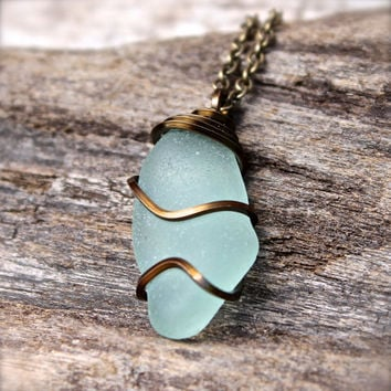 Sea Glass Jewelry from Hawaii - Aqua Blue Seaglass Necklace - Beach Boho Jewelry - Gypsy Seaglass Wire Wrap Jewelry - Sea Glass Necklace
