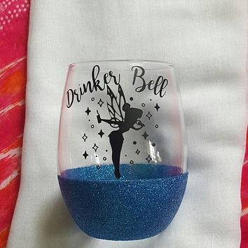 Disney Wine Glass, Drinker Bell, Glitter Wine Glass, Disney Inspired, Tinkerbell