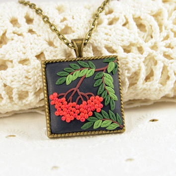 NEW! - Rowan Pendant Polymer clay jewelry Romantic Polymer clay Applique Rowanberry Polymer clay pendant