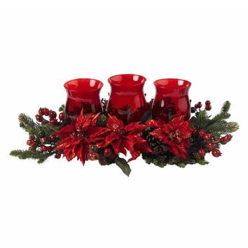 nearly natural Poinsettia & Berry Triple Candelabrum