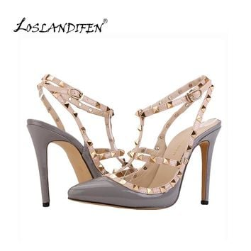 LOSLANDIFEN Leopard Fashion Rivets Shoes High-heeled Pointed Toe Hasp Thin Heel Sandals Rivet Pointed Shoe Female Sandal 302-5PA
