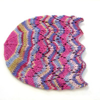 Fuchsia and blue laced beanie, cool wool hat for kids, 1-6 year old girls, READY TO SHIP