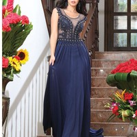 Long Cap Sleeve Chiffon Formal Pleated Cocktail Dress Groom