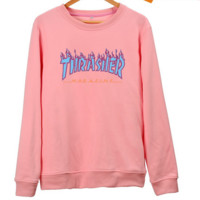 """THRASHER""Hot sale fashion print Flame thin  sweater PINK"