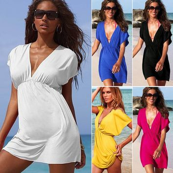 Beach Cover Up Sexy Robe Plage Beach Long Dress Pareos Solid color  Women Beach Tunic Sarong Bathing Suit Bikini Cover Up
