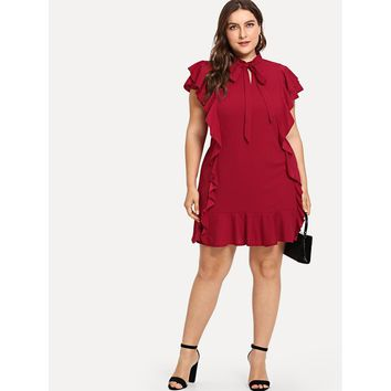 Plus Tied Neck Ruffle Trim Dress