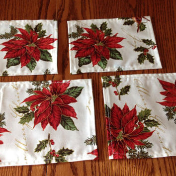 Christmas fabric table square, fabric doily, home décor linens, table protector, candle/lamp mat, table doily, furniture mat, fabric coaster