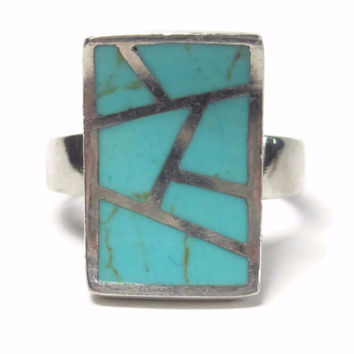 Vintage Modern Sterling Turquoise Inlay Ring Size 9