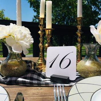 Table Number Holder Black Card Holder Wedding Card Holder 2 inch Set of 15 For Restaurants Weddings Banquets, BLACK,  by Gallery360Designs