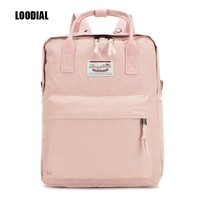 Loodial new waterproof backpacks canvas solid backpack school bags for teenage girls cute book bags women school backpack