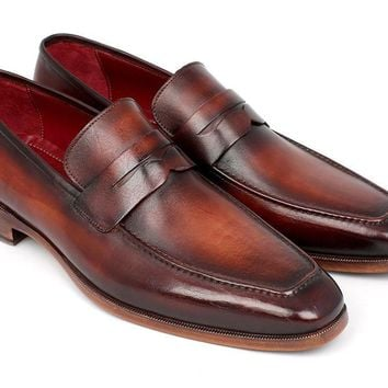 Paul Parkman (FREE Shipping) Men's Penny Loafers Bordeaux and Brown Calfskin (ID#10FD61)