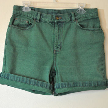 "Vintage Denim SHORTS - Hand Dyed Shamrock Green Urban Style Denim High Waist Vintage Ralph Lauren Brand Shorts - Size 8 (32"" Waist)"