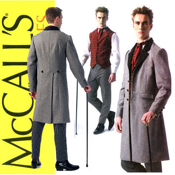 Mens Victorian Waistcoat Pattern UNCUT Chest 34 to 52 McCalls M7003 Morning Coat Vest Pants and Ascot Tie Steampunk Costumes Sewing Patterns