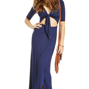 V-Neck Bow Front Cutout Asymmetrical Wrap Dress