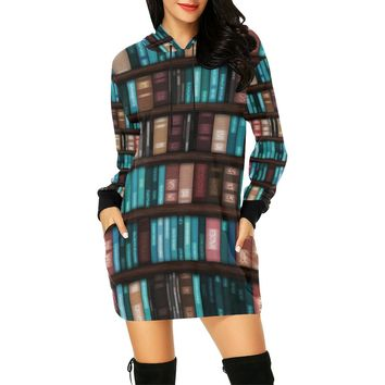Library Wall With Books Short Mini Hoodie Dress