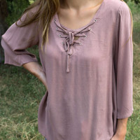 Bayfield Festival Taupe Lace Up Top With Crochet Lace