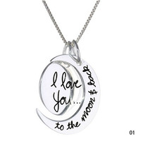 "New Arrival Fashion ""i love you to the moon and back"" Sun Moon Shaped Pendants Necklace charm Jewelry = 1946555780"