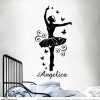 STICKTAK STICKERS Custom Name Ballerina Ballet Dancer Sticker Wall Vinyl for Girls Removable Decal MADE & SHIPPED BY STICKTAK STICKERS - 1 pc - ST1086 - AUSTRALIAN MADE - GENUINE HANDMADE PRODUCT IS SOLD ONLY BY STICKTAK STICKERS STORE