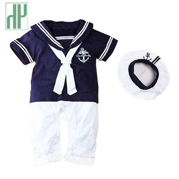 Baby clothing Summer baby sailor suit Romper 2 pcs kids boys girls rompers+hat body summer short-sleeve newborn clothing unisex