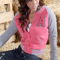 PINK BUTTONED LETTER A VARSITY LETTERMAN SWEATSHIRT JACKET @ Amiclubwear Outerwear Clothing Store:Women's Outer Wear,leather motorcycle jackets,double breasted coats,winter outerwear,outerwear jackets,Outerwear Dress,Discount Outerwear,sexy jackets,womesn