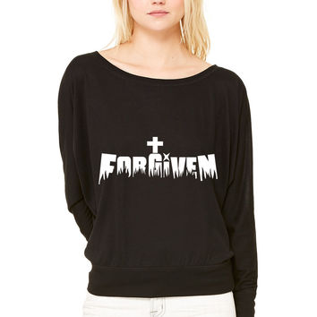 Forgiven by Jesus WOMEN'S FLOWY LONG SLEEVE OFF SHOULDER TEE