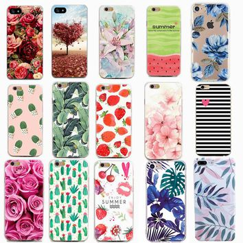 Thin Phone Cases for Apple iPhone 7 7 8 plus 6 6s 5 5s se X Case Flowers Daisy Plants Fruit Cactus Design TPU Phone Covers Shell