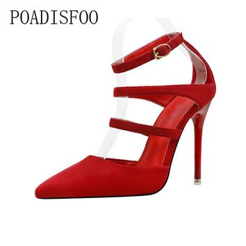 high-heeled women's Shoes Rome women's Shoes Fashion Sexy Nightclub Style With Shallow Mouth Low To Help .ZWM-9616-53