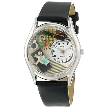 SheilaShrubs.com: Women's Psychiatrist Black Leather Watch S-0640005 by Whimsical Watches: Watches