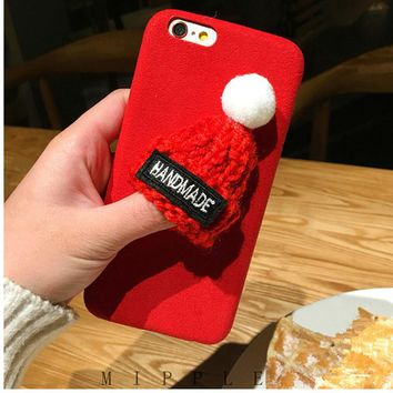 EMIUP Phone Cases for IPhone 7 Plus Case Coque Warm Fur Ball Plush 3D Hat Coqa Case for Iphone 6 6S plus Case 7Plus Cover