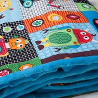 Baby Boy Blanket Flannel and Minky Robots by MadeByErinClaire