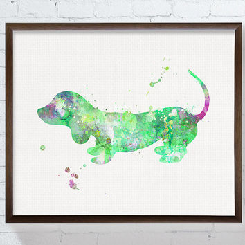 Dog Art Print, Watercolor Dog, Dachshund Painting, Dachshund Print, Dachshund Art, Watercolor Dachshund, Dog Poster, Green Dog