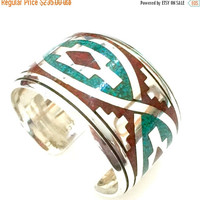 Sterling Silver Zuni Cuff, Turquoise and Coral Inlay, Wide Native American Cuff, Heavy Gauge Silver, Artisan Handcrafted, 1970s, 64.4 grams