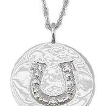 "BRANTLEY AND CO Sterling Silver 5 Diamond Horseshoe Disc 18"" Necklace-Ben Brantley & Company"