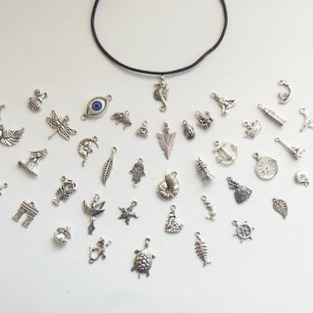 Custom Leather Charm Choker, charms are interchangeable, add as many charms as you want! 52 charms in all
