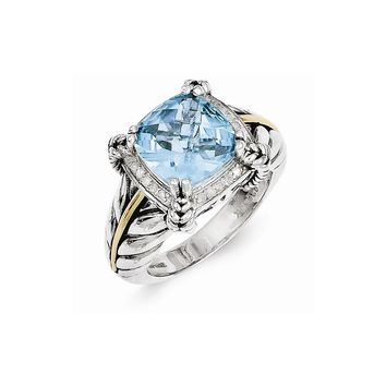 Antique Style Sterling Silver 4.89 Sky Blue Topaz & 1/10ct. Diamond Ring