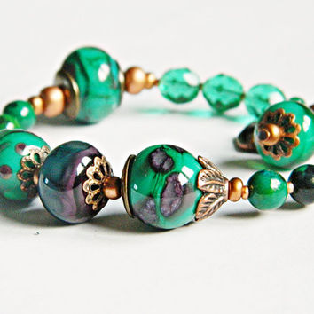 Teal Bohemian Lampwork bracelet Asymmetric Chrysocolla and Green Glass bead bracelet Hippie Gypsy bracelet Crown charm