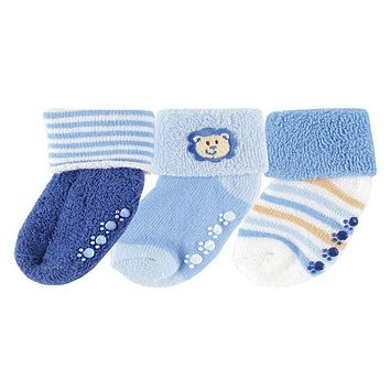 Luvable Friends 3 Pack Newborn Baby Socks, Stays On, Stretchable, Non Skid Soles