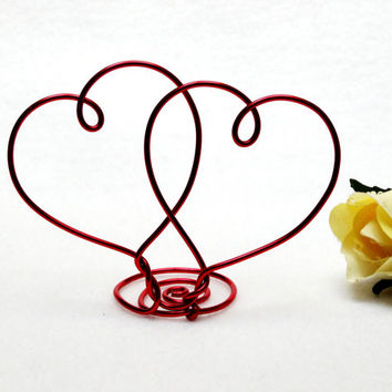 Two Hearts Wire Wedding Cake Topper- Silver, Gold, Brown, Red, Diamond Cut Silver