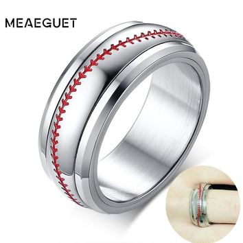 Sports Baseball Ring Wedding Band With Red Stitching Comfort Fit Dome Silver Color 8mm Man Rings Spinner Anillos Hombre Gifts