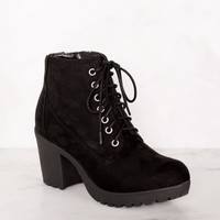 Charlize Black Suede Lace Up Booties