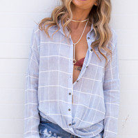 Grace Drape Button Up Top - Blue