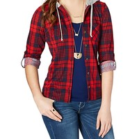 Red & Navy Plaid Hooded Button Down
