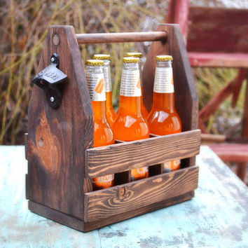 Rustic Beer Tote with Bottle Opener, Groomsmen Gift